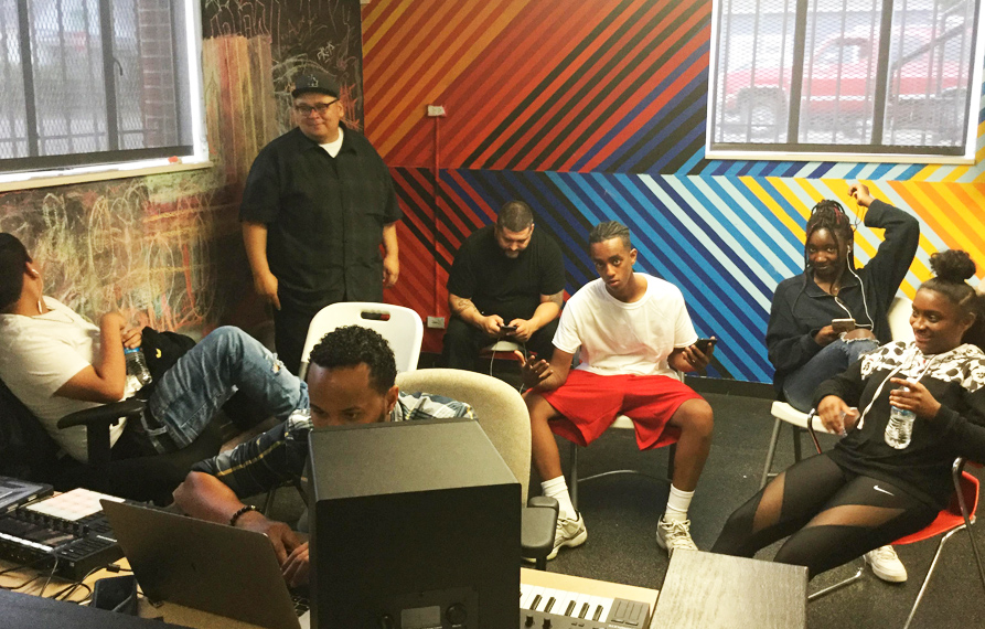 Hip Hop Youth hanging out in recording studio