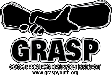 Logo of hands holding wrists and the word GRASP. URL listed as graspyouth.org